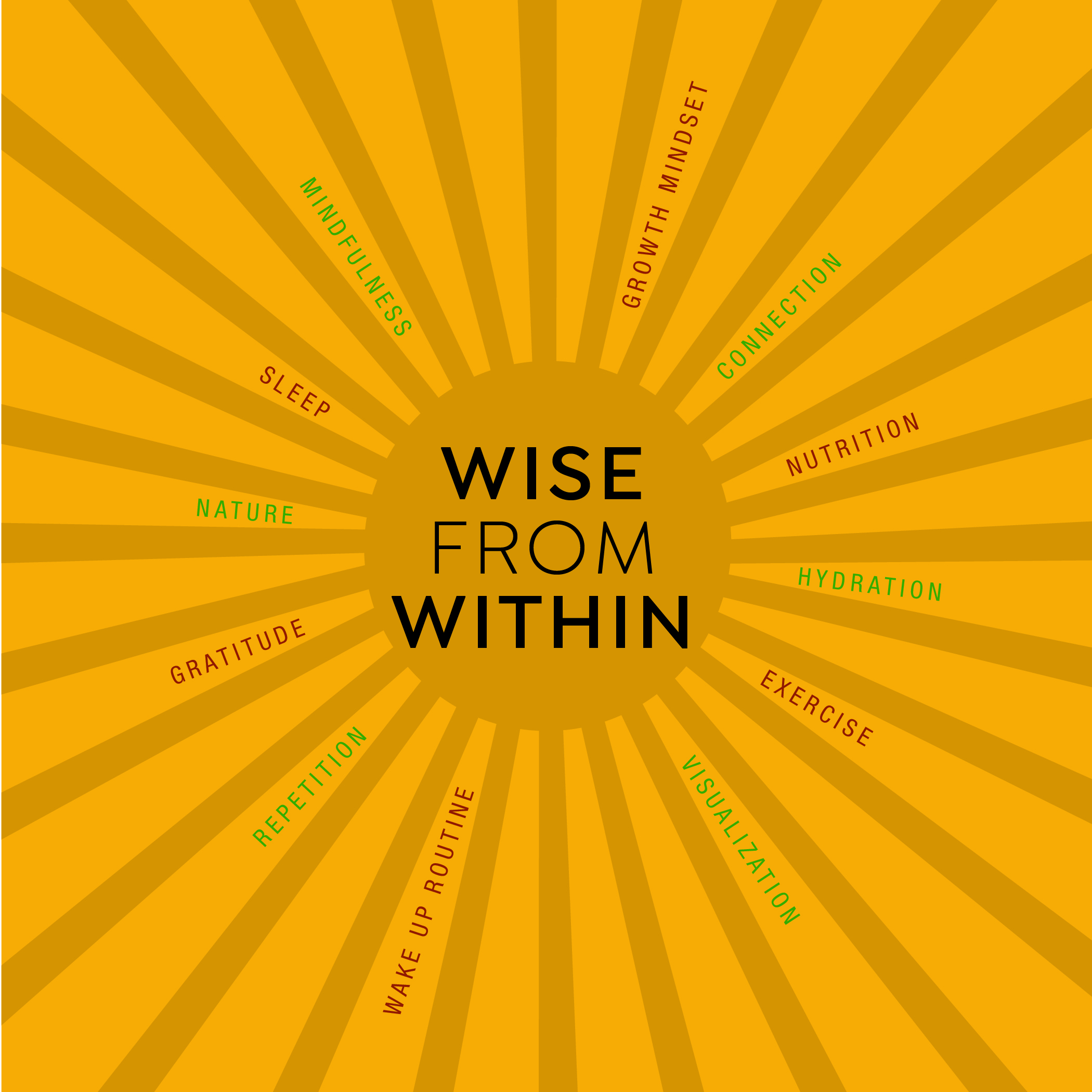 """Sun burst graphic - """"Wise From Within"""""""